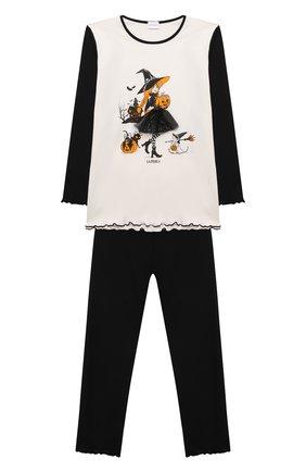 Детская хлопковая пижама LA PERLA черного цвета, арт. 55951/2A-6A   Фото 1