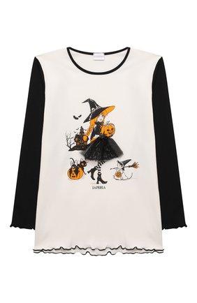 Детская хлопковая пижама LA PERLA черного цвета, арт. 55951/2A-6A   Фото 2