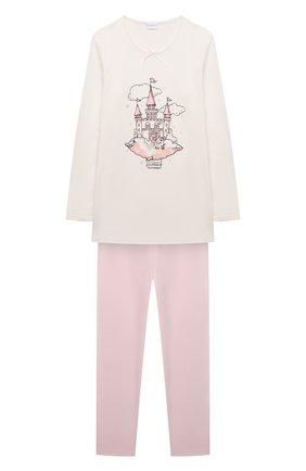 Детская хлопковая пижама LA PERLA кремвого цвета, арт. 55371/2A-6A   Фото 1