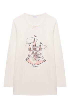 Детская хлопковая пижама LA PERLA кремвого цвета, арт. 55371/2A-6A   Фото 2