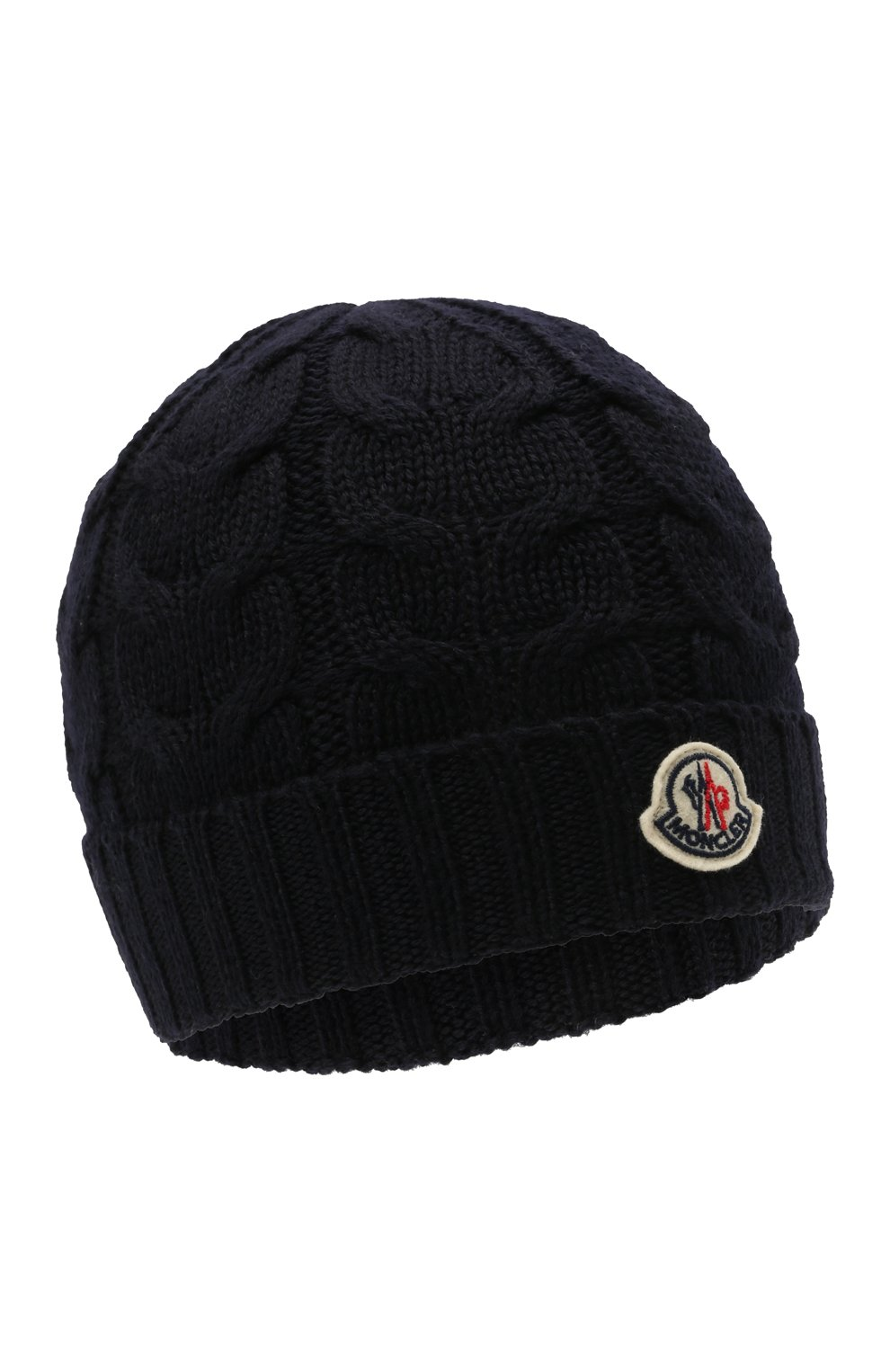 Детского шерстяная шапка MONCLER темно-синего цвета, арт. G2-954-3B715-20-04S02 | Фото 1 (Материал: Шерсть)