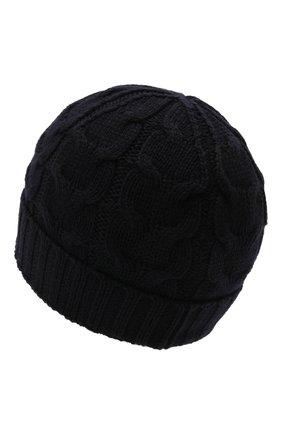 Детского шерстяная шапка MONCLER темно-синего цвета, арт. G2-954-3B715-20-04S02 | Фото 2 (Материал: Шерсть)