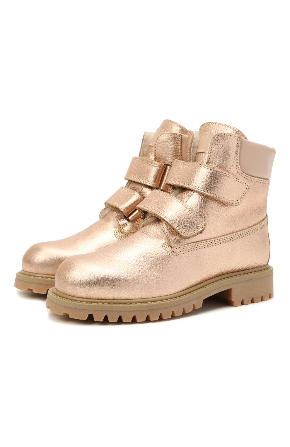 Детские кожаные ботинки GALLUCCI золотого цвета, арт. J01074BM/TR S S G0M ALM/ALM   Фото 1 (Материал утеплителя: Натуральный мех)