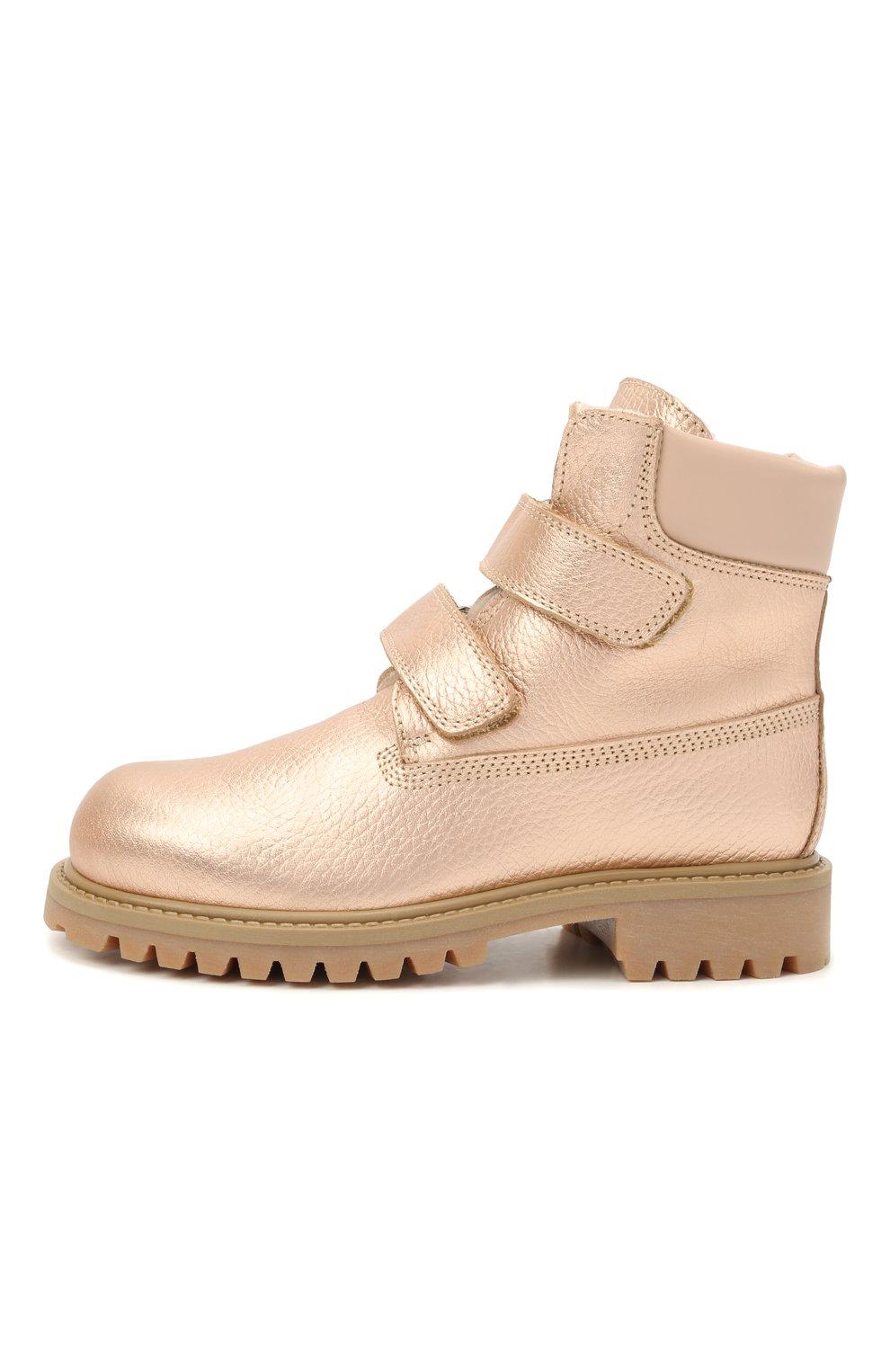 Детские кожаные ботинки GALLUCCI золотого цвета, арт. J01074BM/TR S S G0M ALM/ALM   Фото 2 (Материал утеплителя: Натуральный мех)