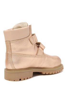 Детские кожаные ботинки GALLUCCI золотого цвета, арт. J01074BM/TR S S G0M ALM/ALM   Фото 3 (Материал утеплителя: Натуральный мех)
