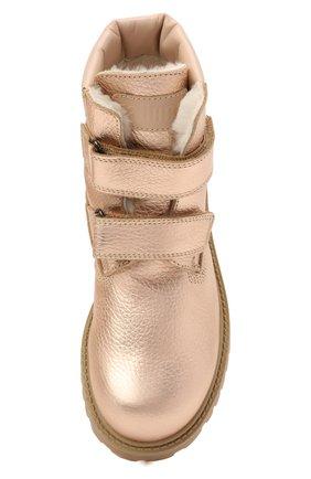 Детские кожаные ботинки GALLUCCI золотого цвета, арт. J01074BM/TR S S G0M ALM/ALM   Фото 4 (Материал утеплителя: Натуральный мех)