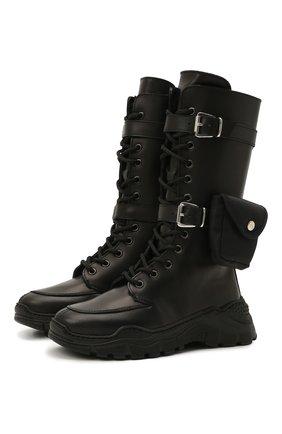 Детские кожаные сапоги GALLUCCI черного цвета, арт. J30103BM/TR S S G0M VIT | Фото 1 (Материал утеплителя: Натуральный мех)