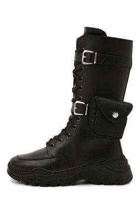 Детские кожаные сапоги GALLUCCI черного цвета, арт. J30103BM/TR S S G0M VIT | Фото 2 (Материал утеплителя: Натуральный мех)