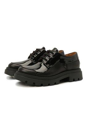 Детские кожаные туфли GALLUCCI черного цвета, арт. J20231AM/SC P V G0M MAI/VER | Фото 1 (Материал внутренний: Натуральная кожа)