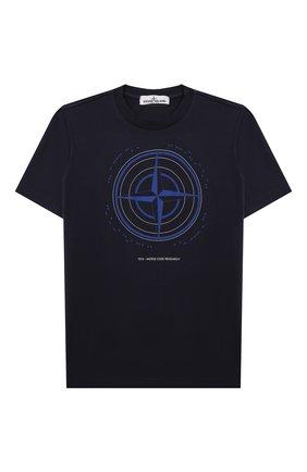 Детская хлопковая футболка STONE ISLAND синего цвета, арт. 751621053/10-12 | Фото 1