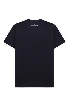 Детская хлопковая футболка STONE ISLAND синего цвета, арт. 751621053/10-12 | Фото 2