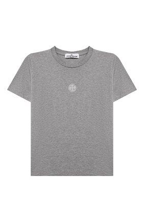 Детская хлопковая футболка STONE ISLAND светло-серого цвета, арт. 751621055/10-12 | Фото 1