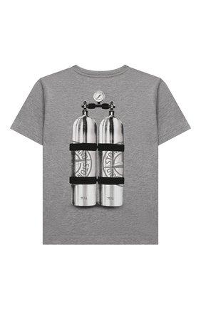 Детская хлопковая футболка STONE ISLAND светло-серого цвета, арт. 751621055/10-12 | Фото 2