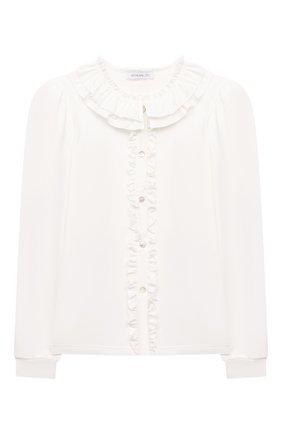 Детское хлопковая блузка MONNALISA белого цвета, арт. 188PATTI   Фото 1