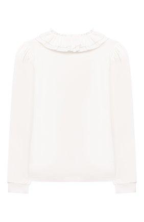 Детское хлопковая блузка MONNALISA белого цвета, арт. 188PATTI   Фото 2
