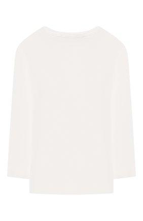 Детская хлопковый лонгслив MONNALISA белого цвета, арт. 118607SG   Фото 2