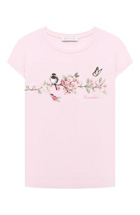Детская хлопковая футболка MONNALISA розового цвета, арт. 118603S8   Фото 1