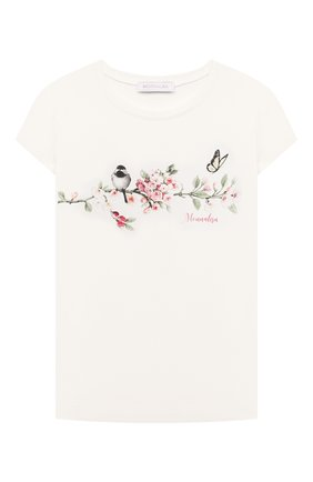 Детская хлопковая футболка MONNALISA белого цвета, арт. 118603S8   Фото 1