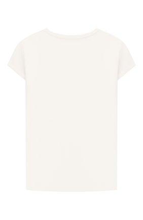 Детская хлопковая футболка MONNALISA белого цвета, арт. 118603S8   Фото 2