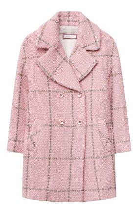Детское двубортное пальто MONNALISA розового цвета, арт. 178103 | Фото 1