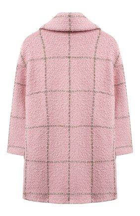 Детское двубортное пальто MONNALISA розового цвета, арт. 178103 | Фото 2