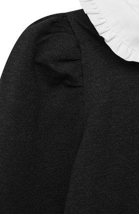 Детское платье MONNALISA серого цвета, арт. 188ABI | Фото 4 (Рукава: Длинные; Случай: Повседневный; Материал внешний: Синтетический материал, Хлопок; Девочки Кросс-КТ: Платье-одежда; Материал подклада: Хлопок; Ростовка одежда: 10 - 11 лет | 140 - 146см, 12 лет | 152 см, 7 лет | 122 см, 8 лет | 128 см, 9 лет | 134 см)