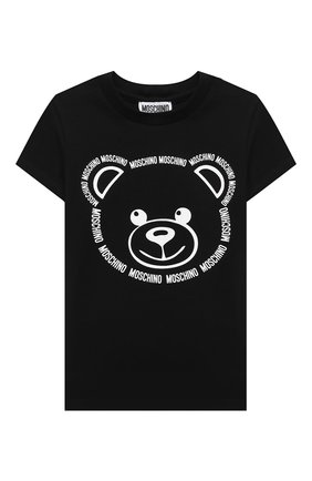 Детская хлопковая футболка MOSCHINO черного цвета, арт. HYM02S/LBA11/4A-8A | Фото 1
