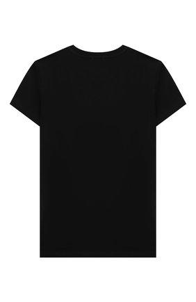 Детская хлопковая футболка MOSCHINO черного цвета, арт. HYM02S/LBA11/4A-8A | Фото 2
