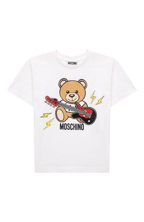 Детская хлопковая футболка MOSCHINO белого цвета, арт. HZM02X/LBA12/10A-14A | Фото 1