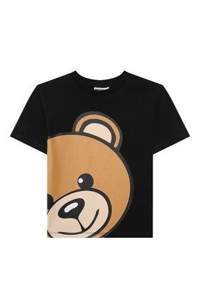 Детская хлопковая футболка MOSCHINO черного цвета, арт. HXM02X/LBA12/4A-8A | Фото 1