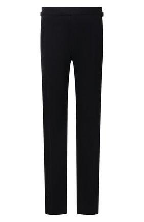 Мужские шерстяные брюки TOM FORD темно-синего цвета, арт. Q22R13/610043 | Фото 1 (Материал внешний: Шерсть; Материал подклада: Купро; Стили: Классический; Случай: Формальный; Длина (брюки, джинсы): Стандартные)