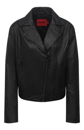 Женская кожаная куртка HUGO черного цвета, арт. 50452349 | Фото 1