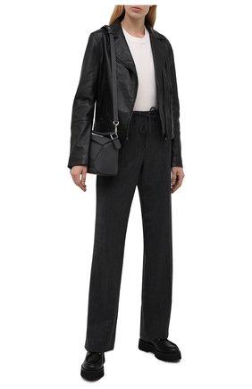 Женская кожаная куртка HUGO черного цвета, арт. 50452349 | Фото 2