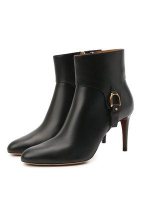 Женские кожаные ботильоны stirrup reida RALPH LAUREN черного цвета, арт. 800850200 | Фото 1 (Материал внутренний: Натуральная кожа; Подошва: Плоская; Каблук высота: Высокий; Каблук тип: Шпилька)