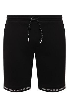 Мужские шорты BOSS черного цвета, арт. 50452481 | Фото 1 (Материал внешний: Хлопок, Синтетический материал; Длина Шорты М: До колена; Кросс-КТ: Трикотаж; Принт: Без принта; Стили: Спорт-шик)