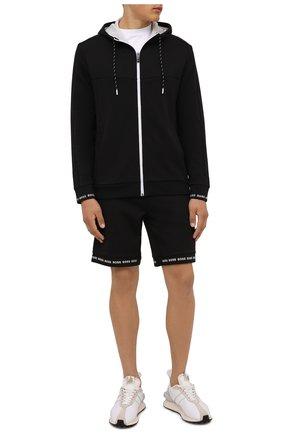 Мужские шорты BOSS черного цвета, арт. 50452481 | Фото 2 (Материал внешний: Хлопок, Синтетический материал; Длина Шорты М: До колена; Кросс-КТ: Трикотаж; Принт: Без принта; Стили: Спорт-шик)