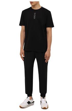 Мужская хлопковая футболка HUGO черного цвета, арт. 50456797 | Фото 2 (Материал внешний: Хлопок; Принт: С принтом; Рукава: Короткие; Стили: Кэжуэл; Длина (для топов): Стандартные)