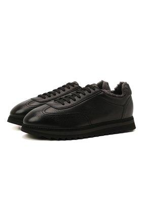 Мужские кожаные кроссовки DOUCAL'S черного цвета, арт. DU2880WINNUM0192N00 | Фото 1 (Подошва: Массивная; Материал утеплителя: Натуральный мех; Стили: Классический)