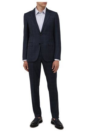 Мужские кожаные пенни-лоферы DOUCAL'S темно-синего цвета, арт. DU2914VER0UT019NB04 | Фото 2