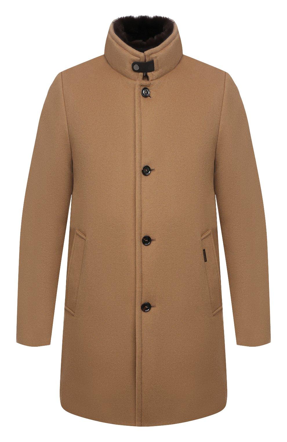 Мужской пальто из шерсти и кашемира bond-fur-le MOORER бежевого цвета, арт. B0ND-FUR-LE/M0UG2100131-TEPA209   Фото 1 (Материал внешний: Шерсть; Рукава: Длинные; Длина (верхняя одежда): До середины бедра; Материал подклада: Синтетический материал; Мужское Кросс-КТ: пальто-верхняя одежда; Материал утеплителя: Пух и перо; Стили: Кэжуэл)