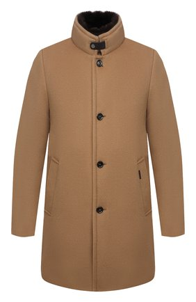 Мужской пальто из шерсти и кашемира bond-fur-le MOORER бежевого цвета, арт. B0ND-FUR-LE/M0UG2100131-TEPA209 | Фото 1 (Материал утеплителя: Пух и перо; Материал подклада: Синтетический материал; Материал внешний: Шерсть; Мужское Кросс-КТ: пальто-верхняя одежда; Стили: Кэжуэл; Длина (верхняя одежда): До середины бедра; Рукава: Длинные)