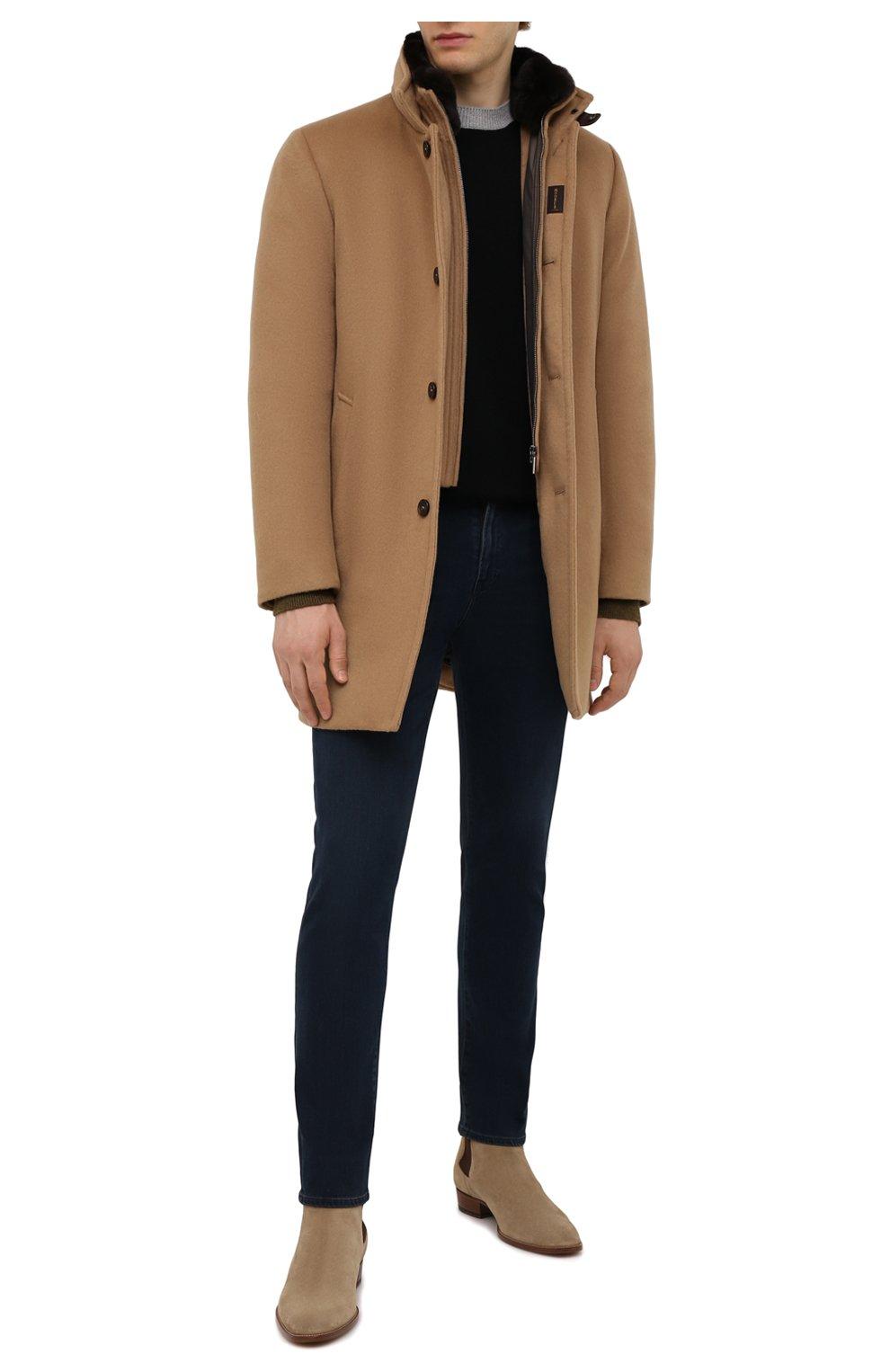 Мужской пальто из шерсти и кашемира bond-fur-le MOORER бежевого цвета, арт. B0ND-FUR-LE/M0UG2100131-TEPA209   Фото 2 (Материал внешний: Шерсть; Рукава: Длинные; Длина (верхняя одежда): До середины бедра; Материал подклада: Синтетический материал; Мужское Кросс-КТ: пальто-верхняя одежда; Материал утеплителя: Пух и перо; Стили: Кэжуэл)