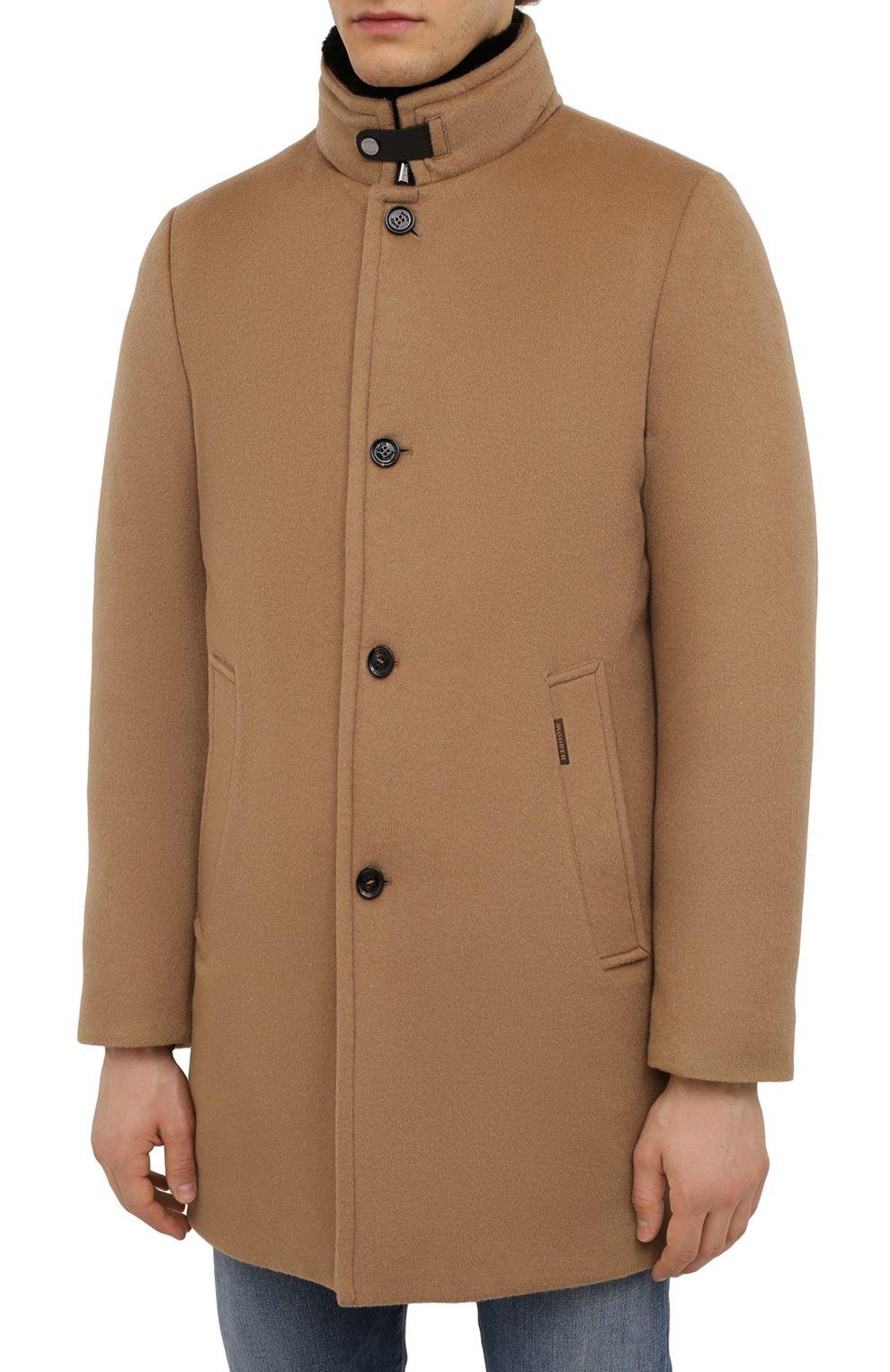Мужской пальто из шерсти и кашемира bond-fur-le MOORER бежевого цвета, арт. B0ND-FUR-LE/M0UG2100131-TEPA209   Фото 3 (Материал внешний: Шерсть; Рукава: Длинные; Длина (верхняя одежда): До середины бедра; Материал подклада: Синтетический материал; Мужское Кросс-КТ: пальто-верхняя одежда; Материал утеплителя: Пух и перо; Стили: Кэжуэл)