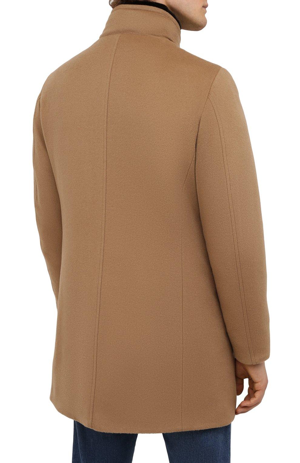 Мужской пальто из шерсти и кашемира bond-fur-le MOORER бежевого цвета, арт. B0ND-FUR-LE/M0UG2100131-TEPA209   Фото 4 (Материал внешний: Шерсть; Рукава: Длинные; Длина (верхняя одежда): До середины бедра; Материал подклада: Синтетический материал; Мужское Кросс-КТ: пальто-верхняя одежда; Материал утеплителя: Пух и перо; Стили: Кэжуэл)
