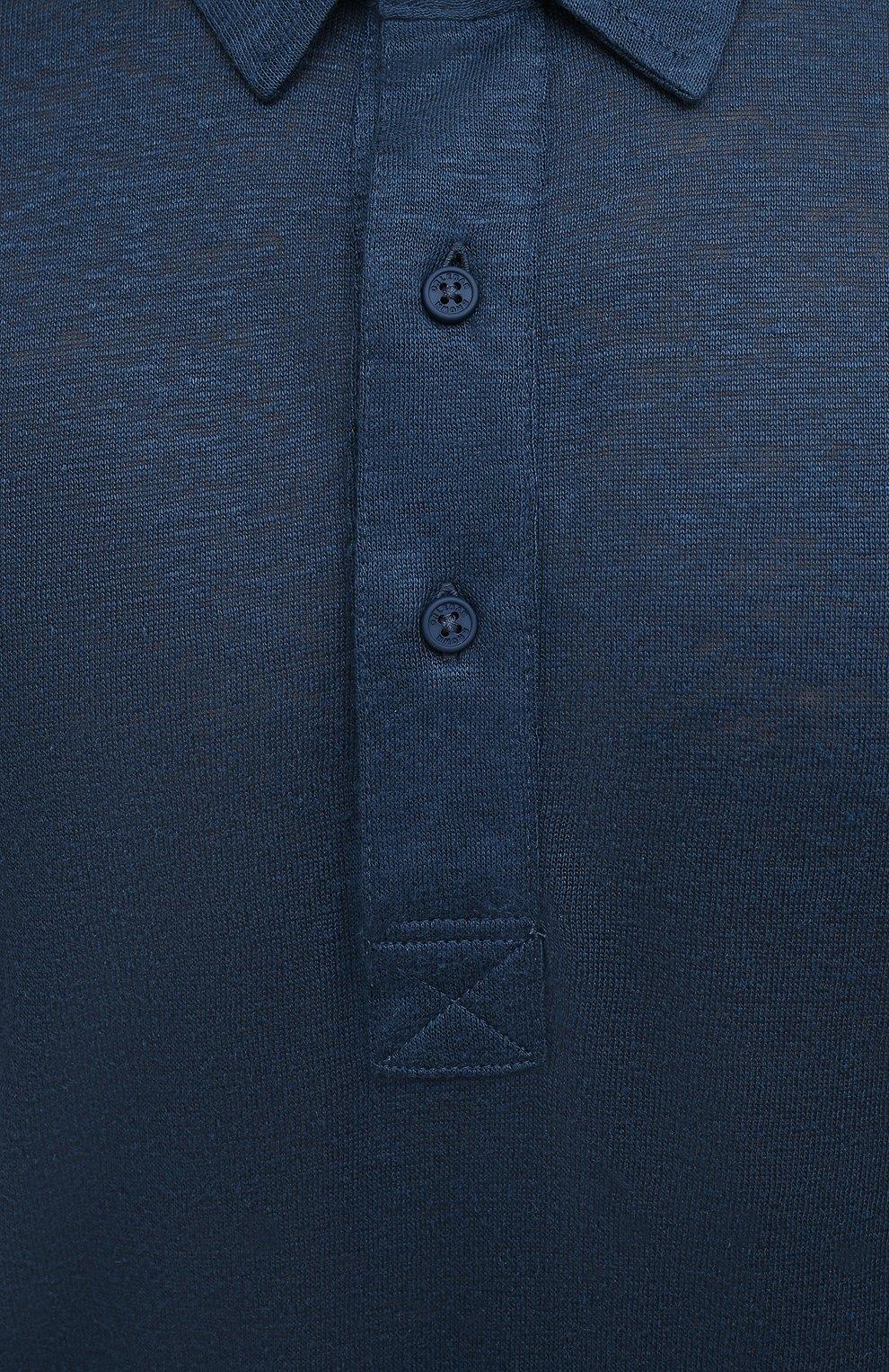 Мужское льняное поло ORLEBAR BROWN темно-синего цвета, арт. 273712   Фото 5 (Застежка: Пуговицы; Рукава: Короткие; Длина (для топов): Стандартные; Кросс-КТ: Трикотаж; Материал внешний: Лен; Стили: Кэжуэл)