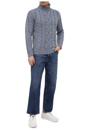 Мужской свитер из шерсти и кашемира FEDELI серо-голубого цвета, арт. 4UI08148 | Фото 2