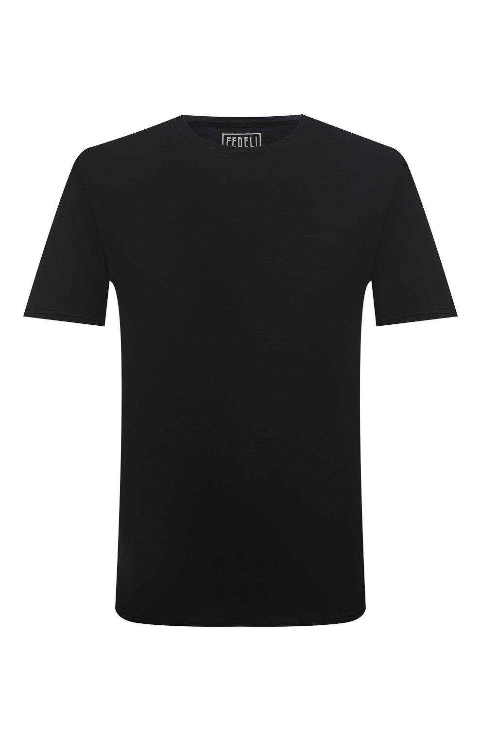 Мужская хлопковая футболка FEDELI черного цвета, арт. 4UIF0113 | Фото 1 (Принт: Без принта; Рукава: Короткие; Длина (для топов): Стандартные; Материал внешний: Хлопок; Стили: Кэжуэл)