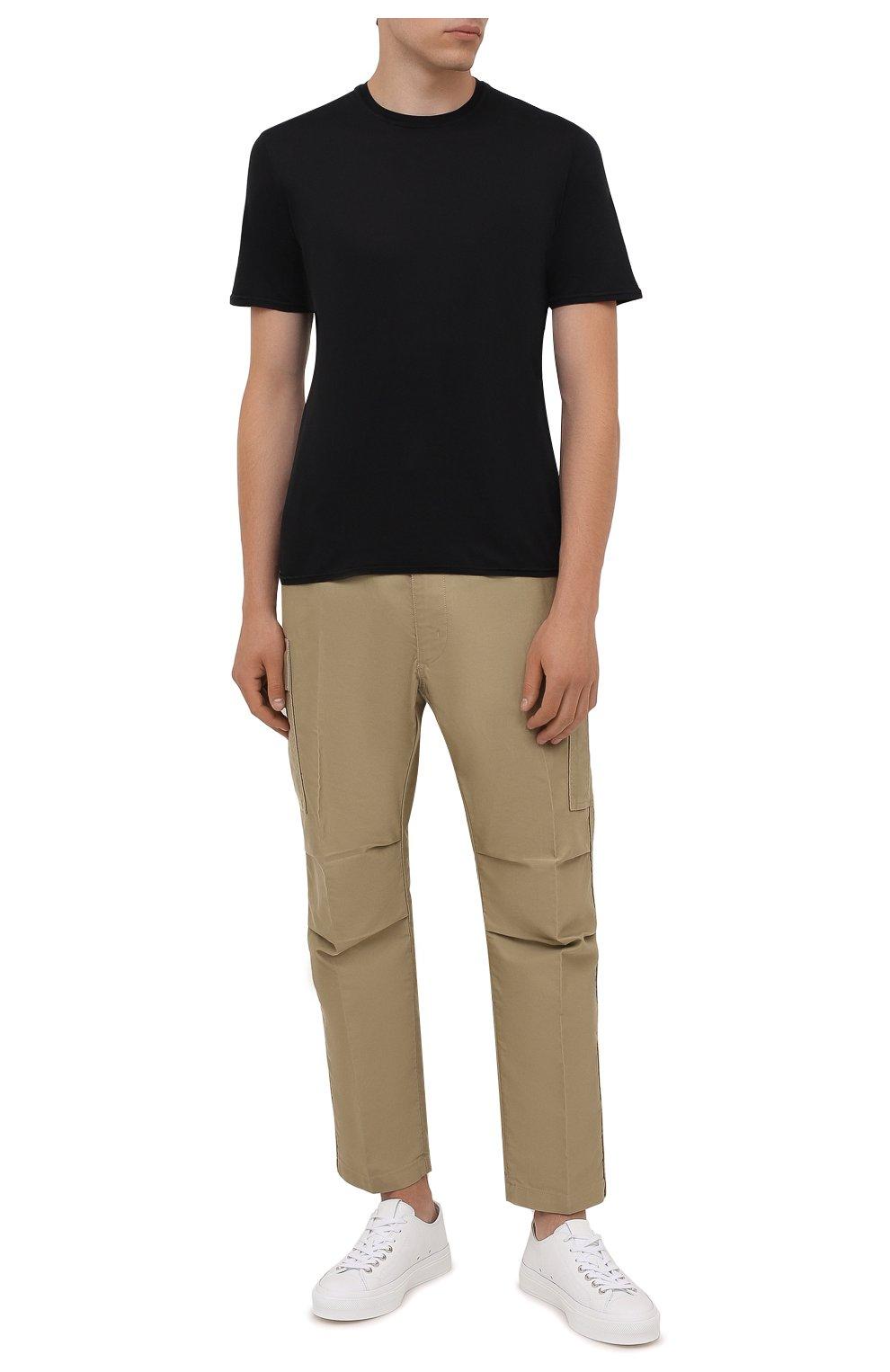 Мужская хлопковая футболка FEDELI черного цвета, арт. 4UIF0113 | Фото 2 (Принт: Без принта; Рукава: Короткие; Длина (для топов): Стандартные; Материал внешний: Хлопок; Стили: Кэжуэл)