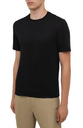 Мужская хлопковая футболка FEDELI черного цвета, арт. 4UIF0113 | Фото 3 (Принт: Без принта; Рукава: Короткие; Длина (для топов): Стандартные; Материал внешний: Хлопок; Стили: Кэжуэл)