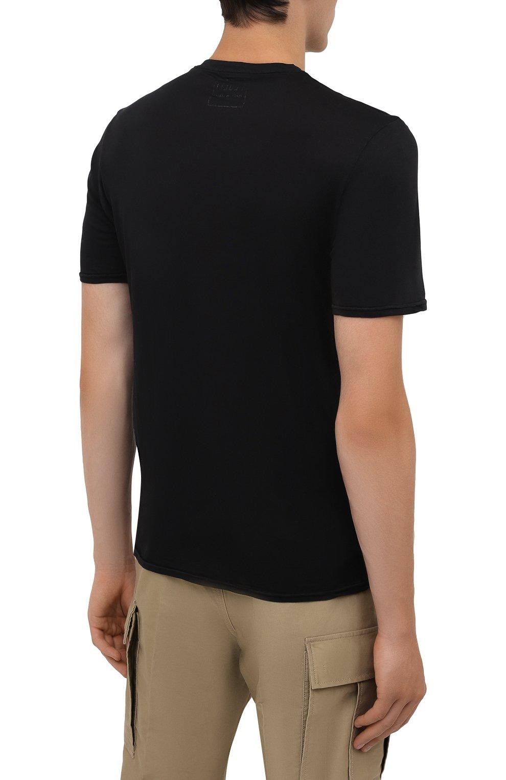 Мужская хлопковая футболка FEDELI черного цвета, арт. 4UIF0113 | Фото 4 (Принт: Без принта; Рукава: Короткие; Длина (для топов): Стандартные; Материал внешний: Хлопок; Стили: Кэжуэл)